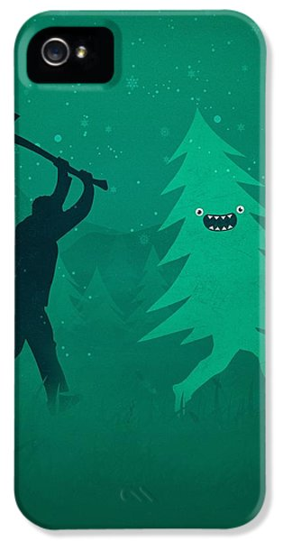 iPhone 5 Case - Funny Cartoon Christmas Tree Is Chased By Lumberjack Run Forrest Run by Philipp Rietz