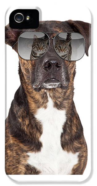 Funny Dog With Cat Reflection In Sunglasses IPhone 5 Case by Susan Schmitz
