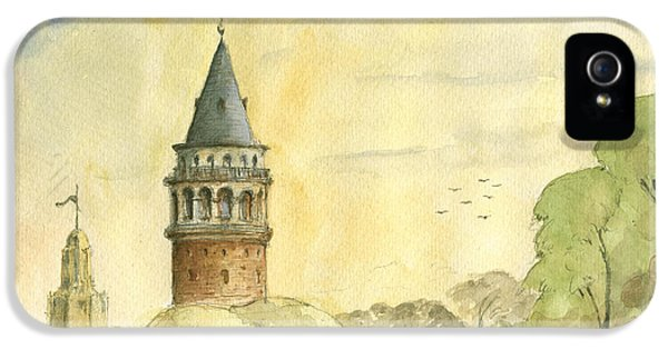 Turkey iPhone 5 Case - Galata Tower Istanbul by Juan Bosco