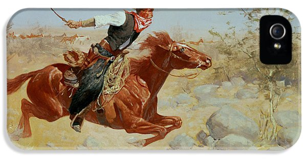 Horse iPhone 5 Case - Galloping Horseman by Frederic Remington