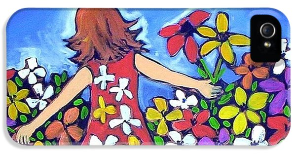 IPhone 5 Case featuring the painting Garden Of Joy by Winsome Gunning