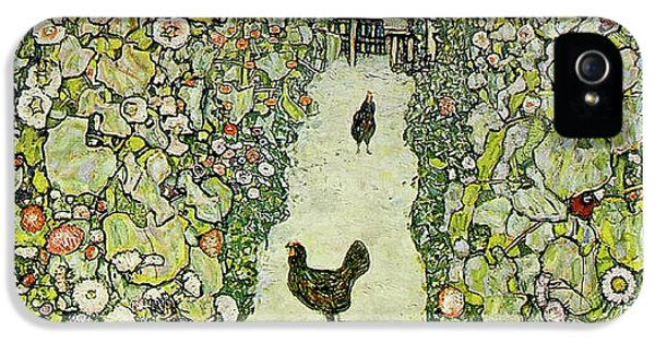 Rooster iPhone 5 Case - Garden With Chickens by Gustav Klimt