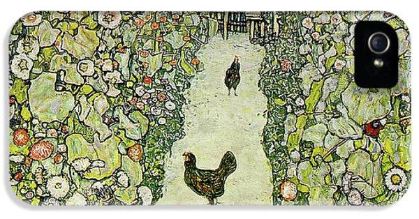 Garden With Chickens IPhone 5 Case by Gustav Klimt