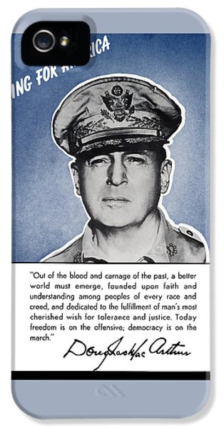 General Macarthur Speaking For America IPhone 5 Case by War Is Hell Store