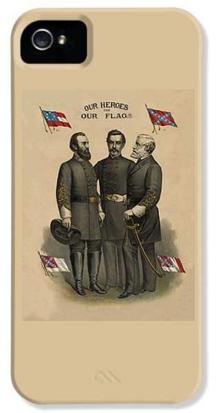 Generals Jackson Beauregard And Lee IPhone 5 Case by War Is Hell Store