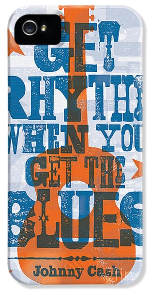 Johnny Cash iPhone 5 Case - Get Rhythm - Johnny Cash Lyric Poster by Jim Zahniser