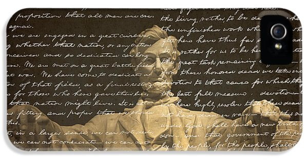 Gettysburg Address IPhone 5 Case by Diane Diederich
