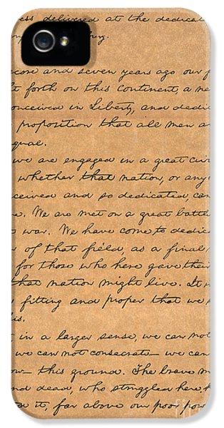 Gettysburg iPhone 5 Case - Gettysburg Address by Granger