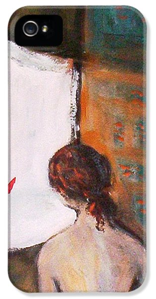 IPhone 5 Case featuring the painting Girl At The Window by Winsome Gunning