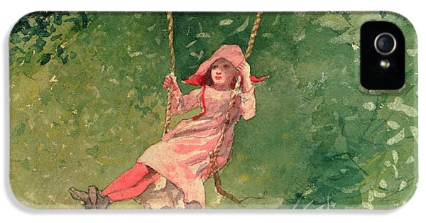 Girl On A Swing IPhone 5 Case by Winslow Homer