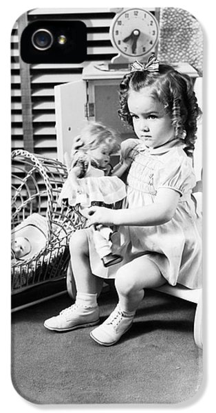 Girl Playing With Dolls, C.1930-40s IPhone 5 Case by H. Armstrong Roberts/ClassicStock