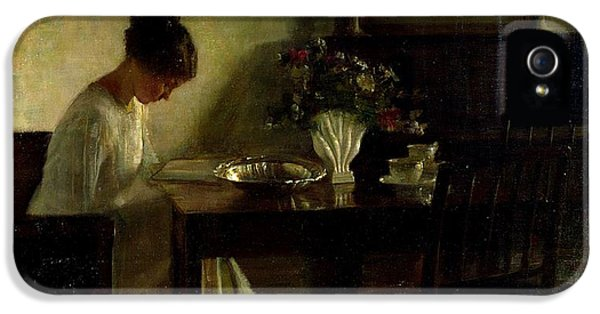 Girl Reading In An Interior  IPhone 5 Case by Carl Holsoe