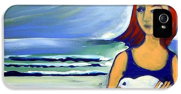 IPhone 5 Case featuring the painting Girl With Bird by Winsome Gunning