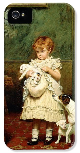 Girl With Dogs IPhone 5 Case by Charles Burton Barber