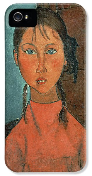 Girl With Pigtails IPhone 5 Case by Amedeo Modigliani