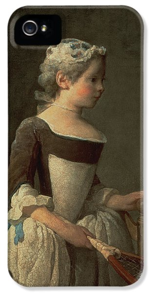 Girl With Racket And Shuttlecock IPhone 5 Case by Jean-Baptiste Simeon Chardin