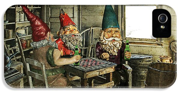 Gnomes Playing Checkers IPhone 5 Case by Randall Nyhof