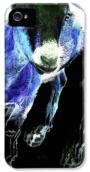 Goat Pop Art - Blue - Sharon Cummings IPhone 5 / 5s Case by Sharon Cummings