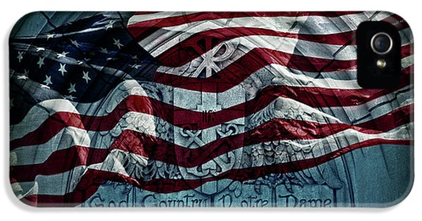 God Country Notre Dame American Flag IPhone 5 Case by John Stephens