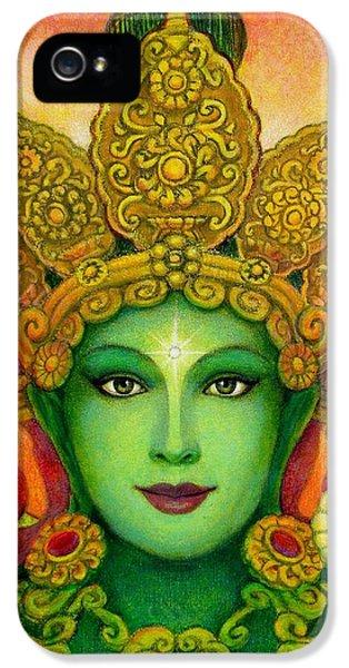 Goddess Green Tara's Face IPhone 5 Case by Sue Halstenberg