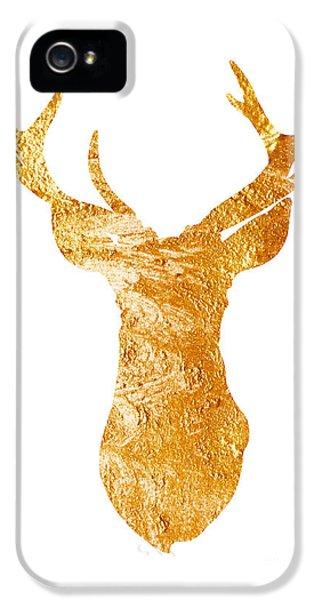 Gold Deer Silhouette Watercolor Art Print IPhone 5 Case by Joanna Szmerdt