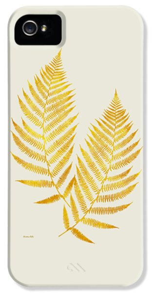 IPhone 5 Case featuring the mixed media Gold Fern Leaf Art by Christina Rollo