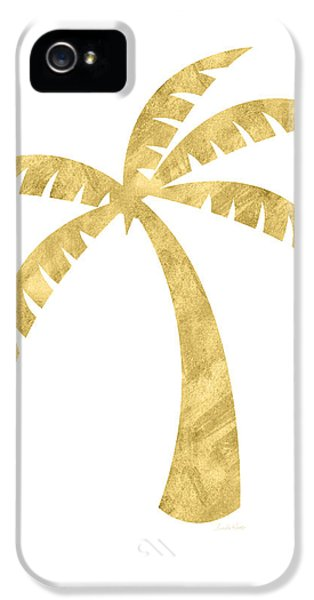 Gold Palm Tree- Art By Linda Woods IPhone 5 Case by Linda Woods
