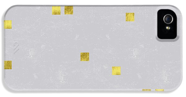 Gold Scattered Square Confetti Pattern On Grey Linen Texture IPhone 5 Case by Tina Lavoie