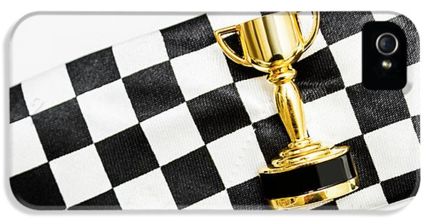 Gold Trophy On A Checked Sport Flag IPhone 5 Case by Jorgo Photography - Wall Art Gallery