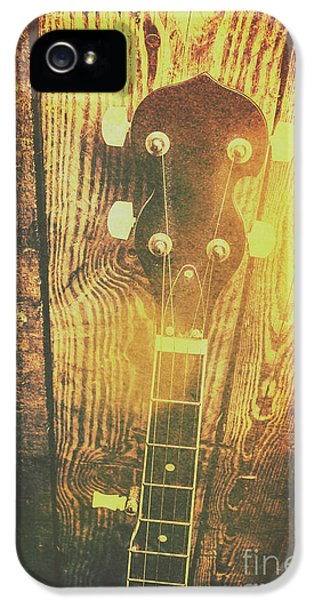 Golden Banjo Neck In Retro Folk Style IPhone 5 Case
