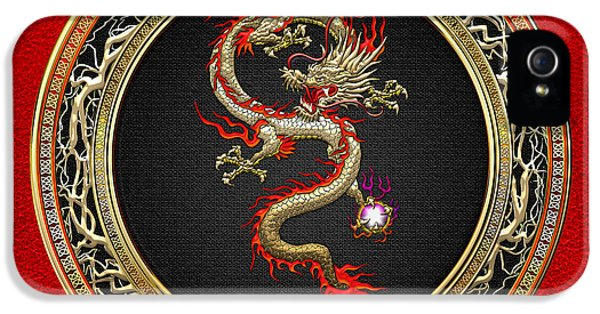 Golden Chinese Dragon Fucanglong On Red Leather  IPhone 5 Case
