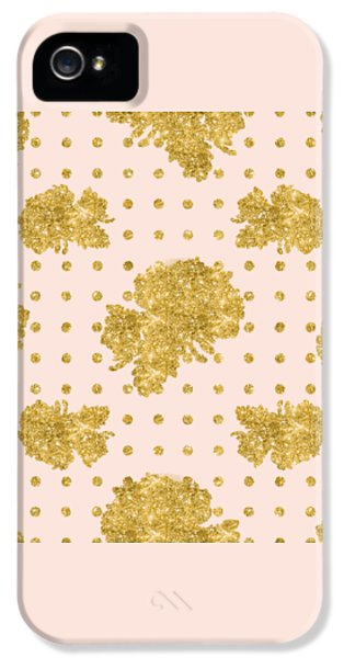 Golden Gold Blush Pink Floral Rose Cluster W Dot Bedding Home Decor IPhone 5 Case by Audrey Jeanne Roberts