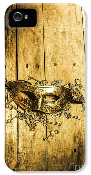 Golden Masquerade Mask With Keys IPhone 5 Case by Jorgo Photography - Wall Art Gallery
