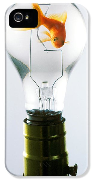 Goldfish In Light Bulb  IPhone 5 Case by Garry Gay