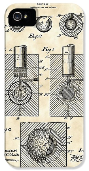 Golf Ball Patent 1902 - Vintage IPhone 5 Case by Stephen Younts