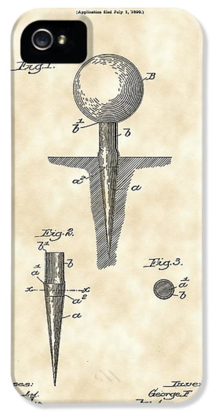 Golf iPhone 5 Case - Golf Tee Patent 1899 - Vintage by Stephen Younts
