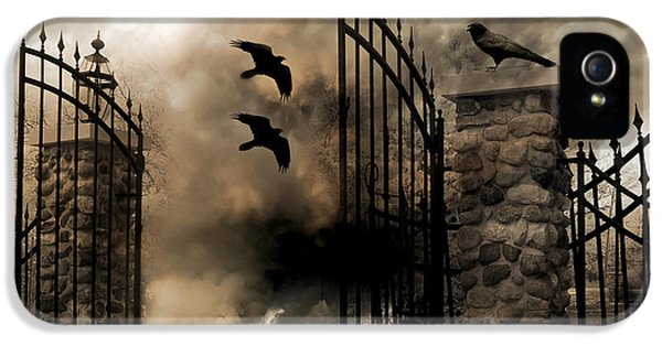 Gothic Surreal Fantasy Ravens Gated Fence  IPhone 5 Case by Kathy Fornal