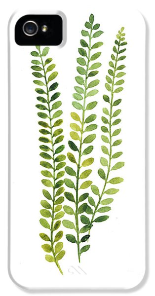 Green Fern Watercolor Minimalist Painting IPhone 5 Case