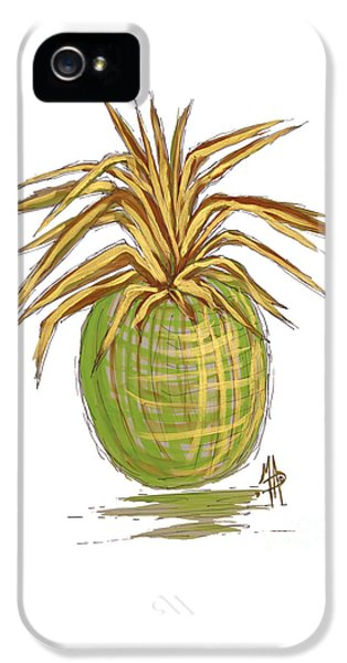 Green Gold Pineapple Painting Illustration Aroon Melane 2015 Collection By Madart IPhone 5 Case by Megan Duncanson