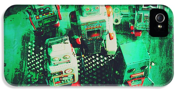 Green Grunge Comic Robots IPhone 5 Case by Jorgo Photography - Wall Art Gallery