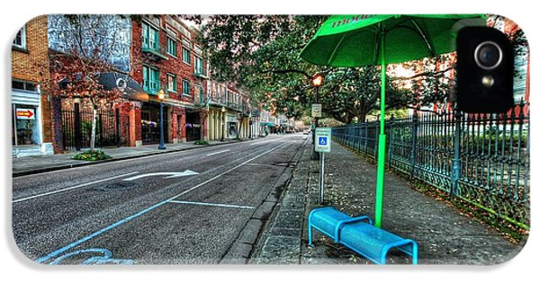 Green Umbrella Bus Stop IPhone 5 Case by Michael Thomas