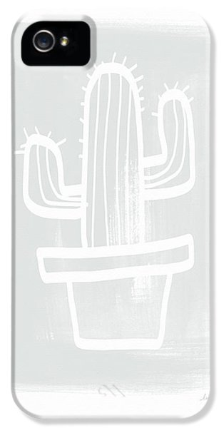 Grey And White Cactus- Art By Linda Woods IPhone 5 Case by Linda Woods