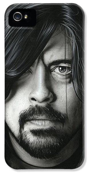 Dave Grohl - ' Grohl In Black II ' IPhone 5 Case by Christian Chapman Art