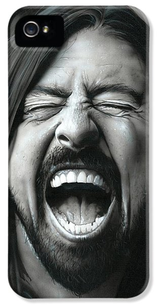 Dave Grohl - ' Grohl In Black IIi ' IPhone 5 Case by Christian Chapman Art