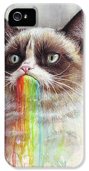 Cat iPhone 5 Case - Grumpy Cat Tastes The Rainbow by Olga Shvartsur