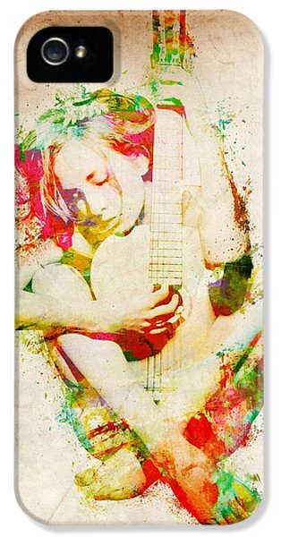 Guitar iPhone 5 Case - Guitar Lovers Embrace by Nikki Smith