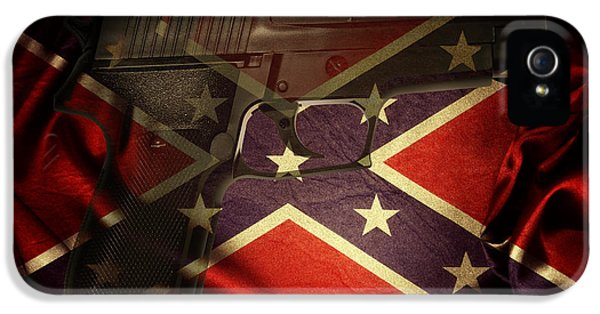 Gun And Flag IPhone 5 Case by Les Cunliffe