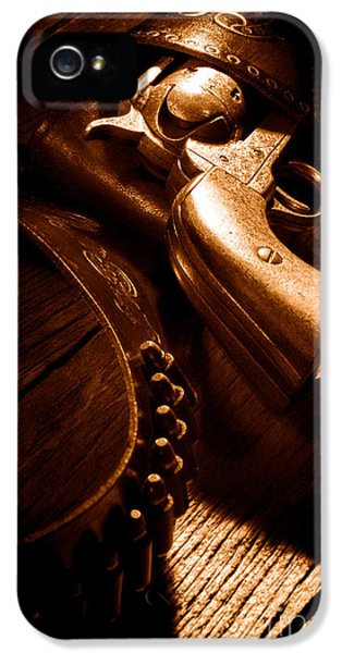 Gunslinger Tool - Sepia IPhone 5 Case by Olivier Le Queinec