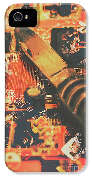Hacking Knife On Circuit Board IPhone 5 Case by Jorgo Photography - Wall Art Gallery
