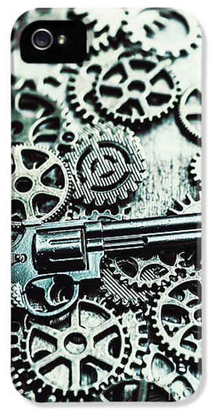 Handguns And Gears IPhone 5 Case by Jorgo Photography - Wall Art Gallery